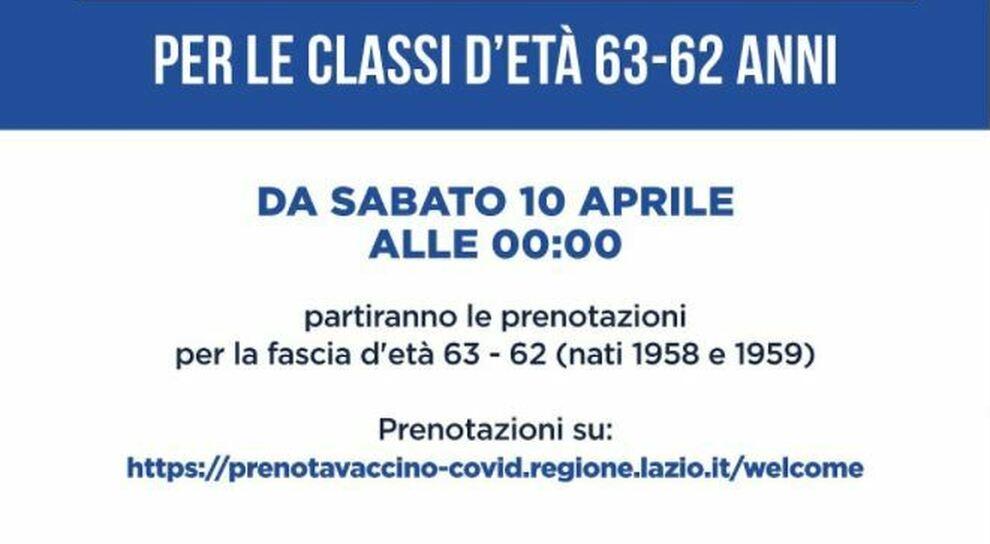 Lazio, vaccini: stanotte aprono le prenotazioni per i 62-63enni