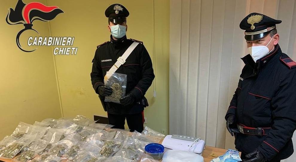 Spaccio nella zona rossa, i carabinieri sequestrano la droga: due arresti nel Pescarese