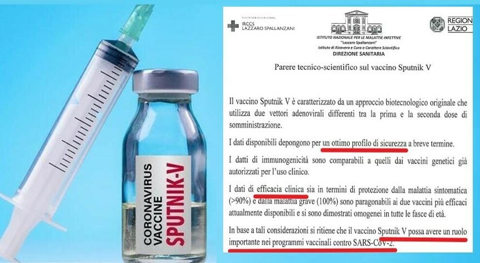 A sinistra, il vaccino anti-Covid russo Sputnik V, a destra il parere dell'Istituto per le malattie infettive, Lazzaro Spallanzani