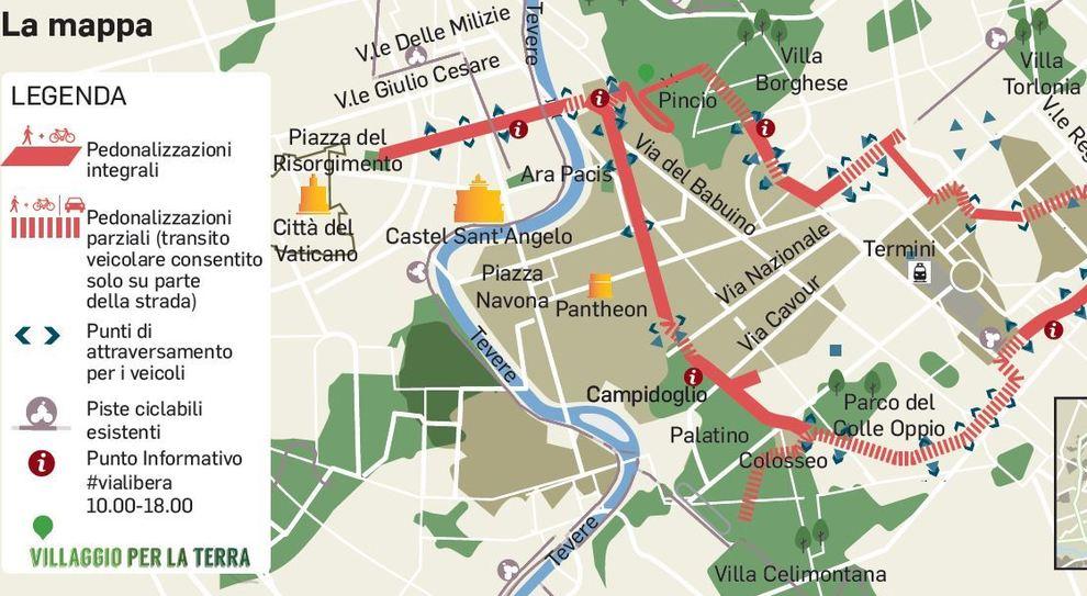 Cartina Roma Piazza Navona.Roma Domenica Senza Auto Deviazioni E Blocchi Ecco La Mappa Dei Divieti