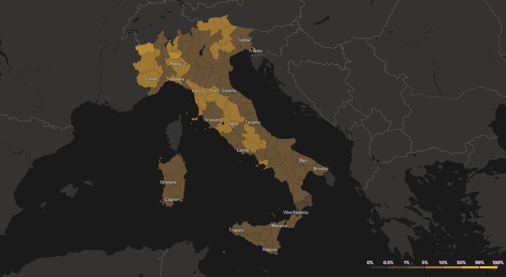 Covid, mappa del rischio: a Roma il 3,8% di probabilità di incontrare un contagiato tra 10 persone