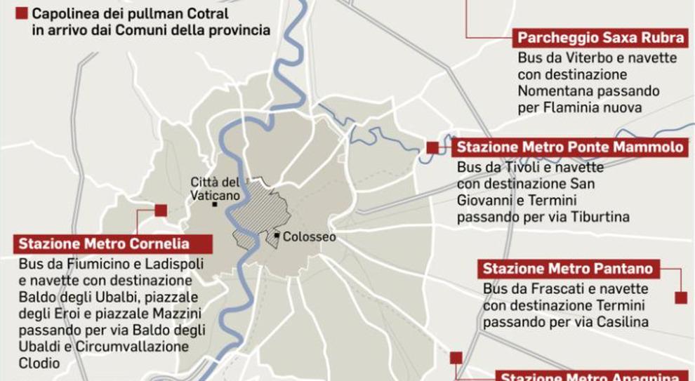 Roma, i bus Cotral entrano in città. «Fermate davanti agli uffici»