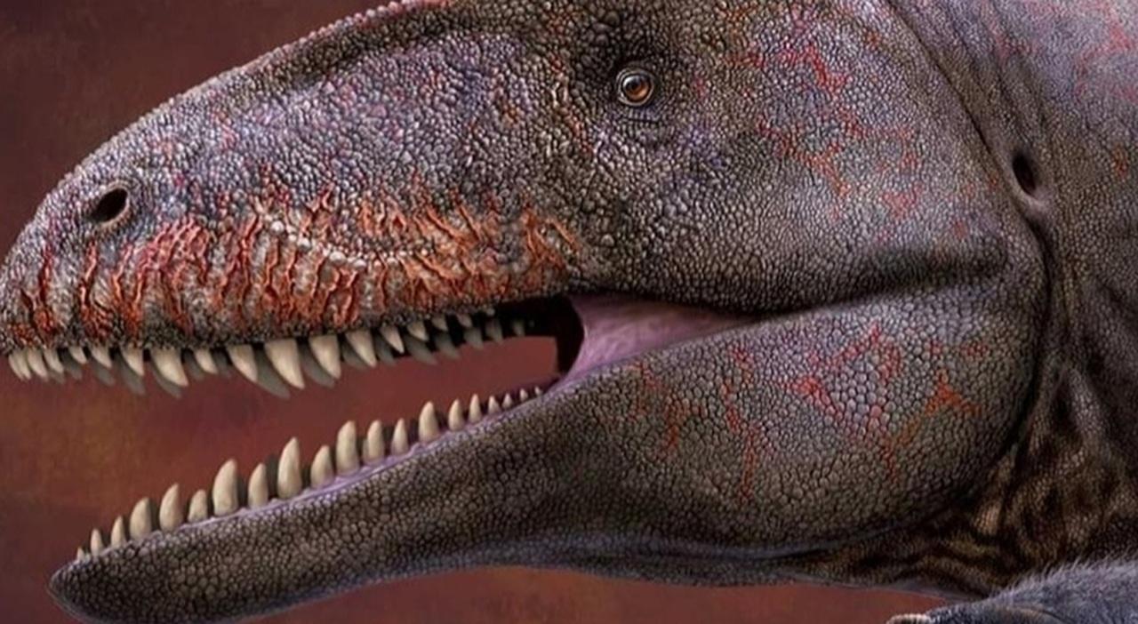 Una ricostruzione dell'Ulughbegsaurus uzbekistanensis (immagine diffusa da Smithsonian Magazine e Dinosaur Valley Studios. Studio pubbl su The Royal Society)