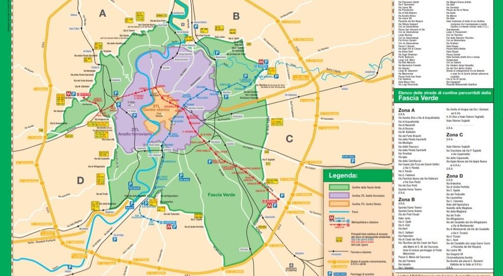 Roma Centro Cartina.Roma Tornano Le Domeniche A Piedi Il 15 Novembre Primo Stop Alle Auto Nella Fascia Verde La Mappa Dei Divieti
