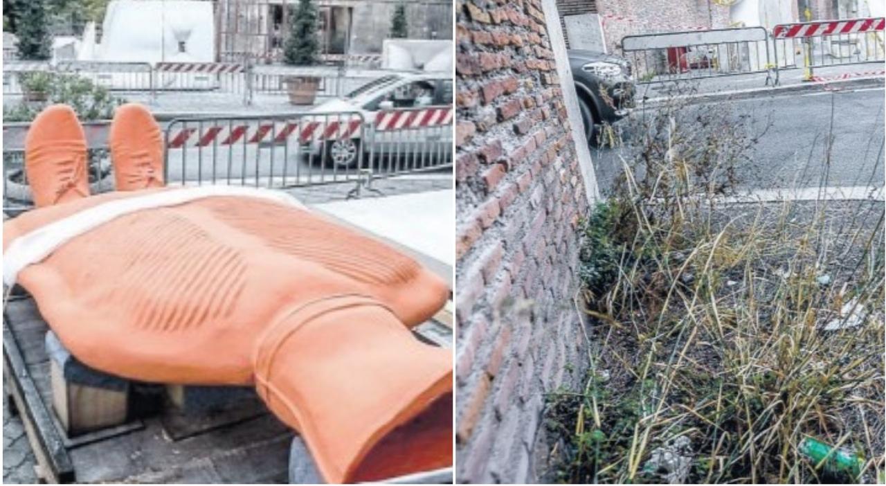 Porta Pinciana, l'arte di Erwin Wurm debutta nel degrado: erbacce e rifiuti rovinano lo scenario della mostra