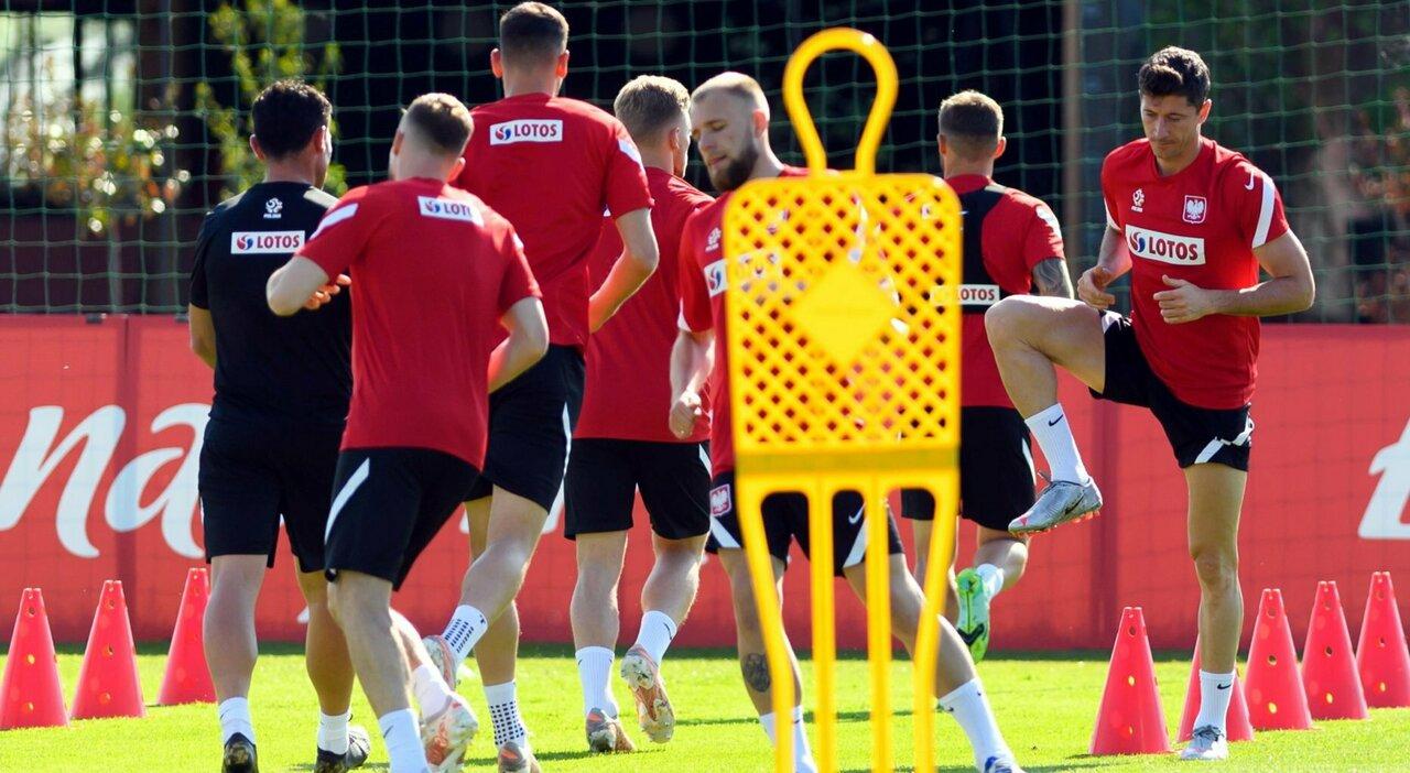 L'allenamento della Polonia,