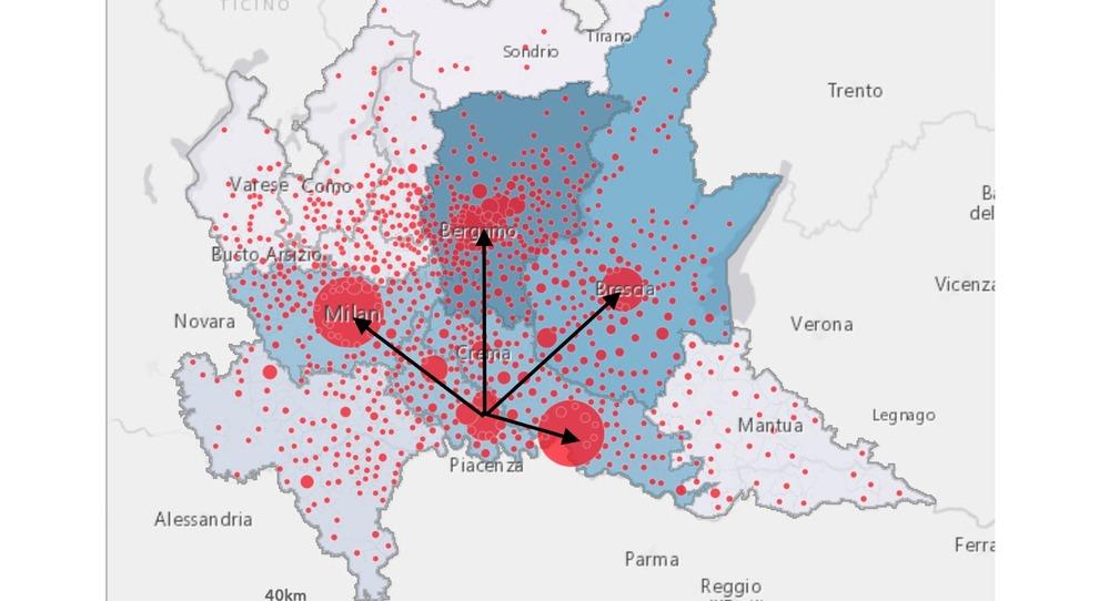 Il grafico dei contagi in Lombardia