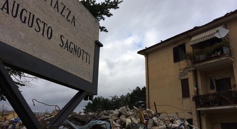 Piazza Sagnotti dopo il terremoto del 2016