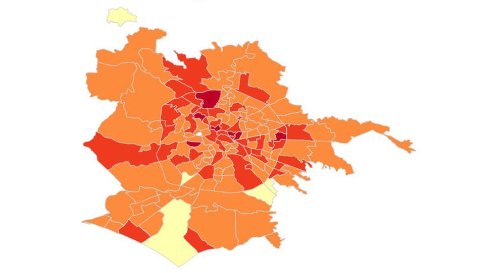 Covid Roma: mappa contagio: al Centro la situazione peggiore, quartiere Trieste maglia nera