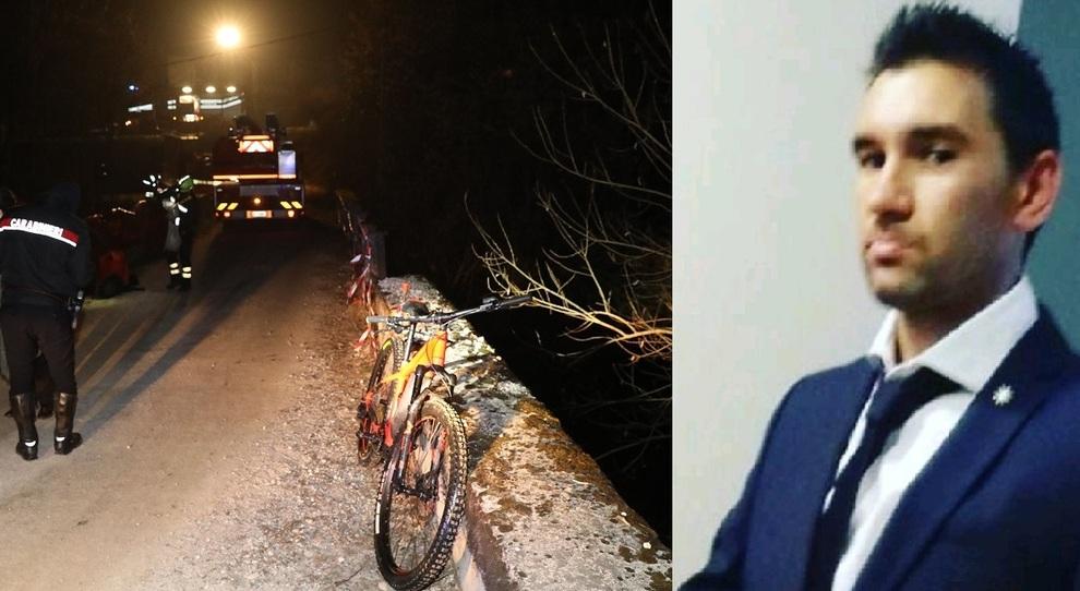 Denis Bona e il luogo del ritrovamento della bicicletta