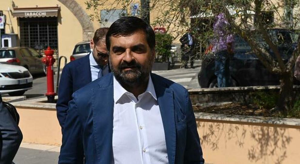 Luca Palamara all'arrivo al tribunale penale di Perugia