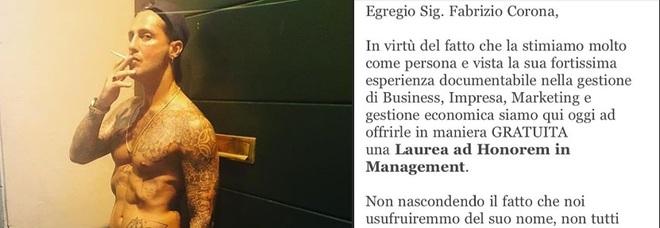 A Fabrizio Corona la Laurea ad Honorem in Management