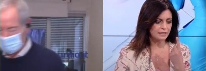 Bertolaso incalzato dalle domande della giornalista lascia la diretta