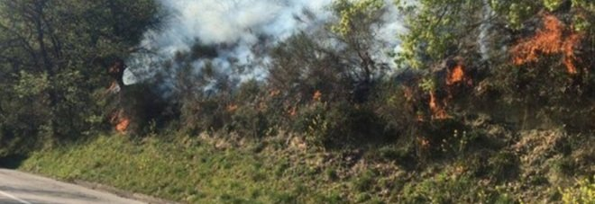 Fiamme vicino al cimitero, paura in Sabina: vigili del fuoco al lavoro per arginare il rogo