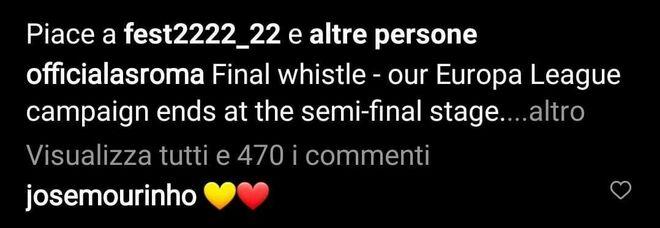 Mourinho, due cuoricini giallorossi su un post della Roma