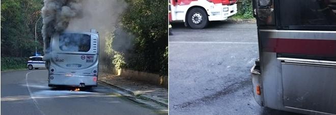 Bus in fiamme alla Farnesina