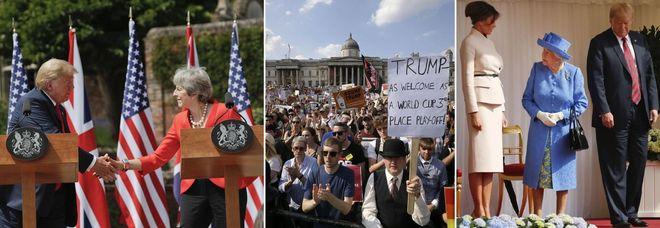 Trump-May: «Sì al libero scambio». Ma in 100mila protestano in piazza