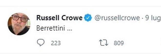 Djokovic-Berrettini, Russell Crowe tifa l'italiano a Wimbledon