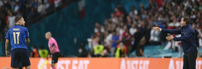 """Italia-Inghilterra, Berardi al posto di Immobile: Mancini con il """"falso nueve"""". Cristante per Barella"""