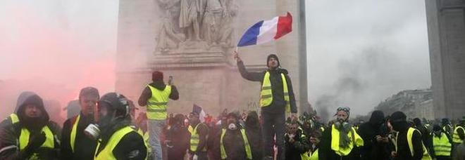 Una protesta dei gilet gialli