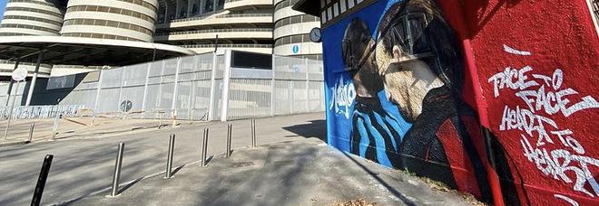 A Milano è già derby: la lite Ibrahimovic-Lukaku diventa un murale a San Siro Foto Instagram