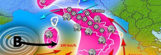 Meteo, Italia nell'occhio del ciclone: Burian porta temporali, grandine e neve