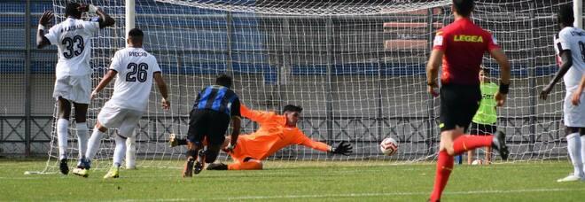 Il gol che è valso il ripescaggio in serie C nel play off con il Savoia