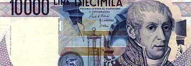 Una banconota da diecimila lire