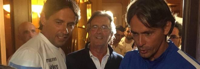 Lazio, sorpresa ad Auronzo: Pippo Inzaghi fa visita al fratello Simone