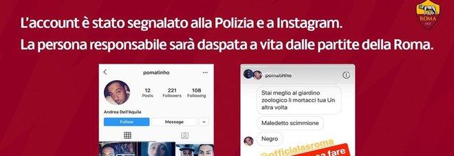 Frasi razziste su Instagram a calciatore della Roma: daspo di 3 anni all'autore