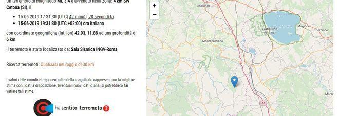 Terremoto, sei scosse in provincia di Siena: la più forte di magnitudo 3.4