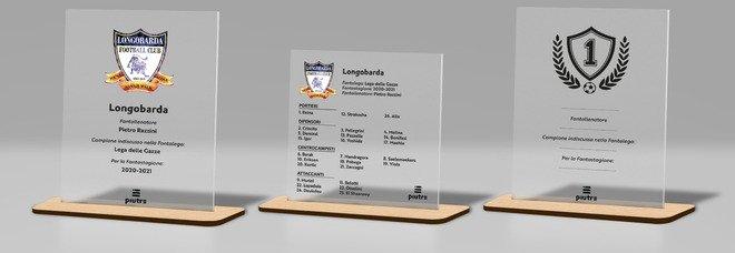 Un'immagine delle targhe personalizzate e ideate da Piutre per il fantacalcio