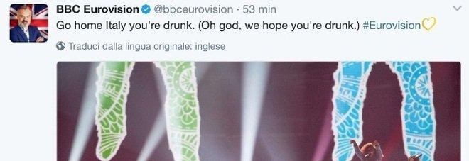 Gabbani all'Eurovision, il tweet della BBC