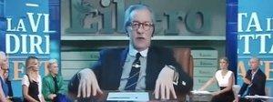 Feltri interrotto alla Vita in Diretta: «Siete asini e cafoni». Ira Semprini su Facebook
