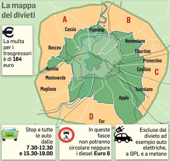 Cartina Stadio Olimpico Roma.Roma Oggi Il Blocco Auto Ecco Fasce Orarie E Mappa Dei Divieti