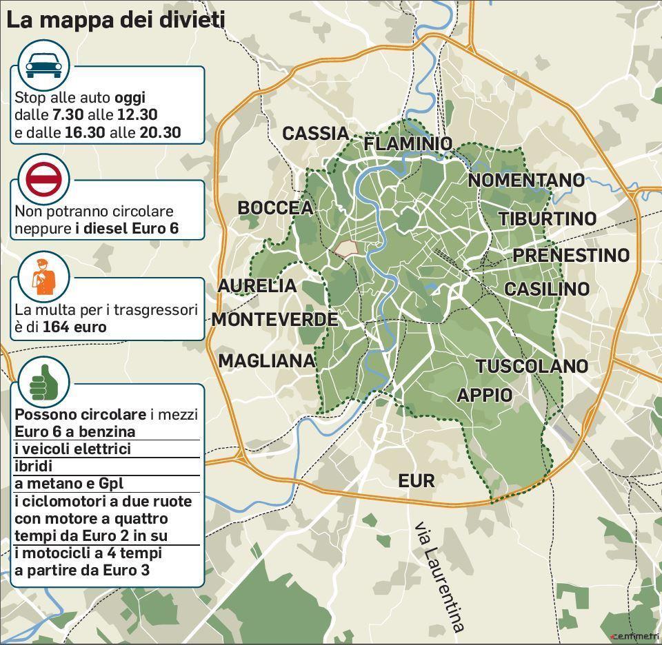 Cartina Della Fascia Verde A Roma.Roma Auto Vietate All Interno Della Fascia Verde Oggi C E La Domenica Ecologica