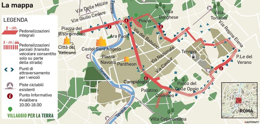 Cartina Di Villa Borghese Roma.Roma Domenica Senza Auto Deviazioni E Blocchi Ecco La Mappa Dei Divieti