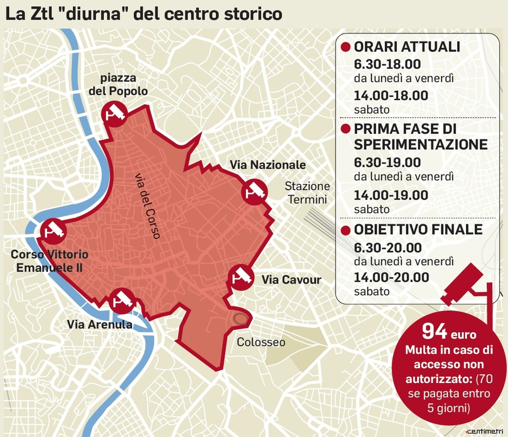 Cartina Ztl Roma.Centro Senza Metro A Salta Il Prolungamento Dell Orario Della Ztl Mappa