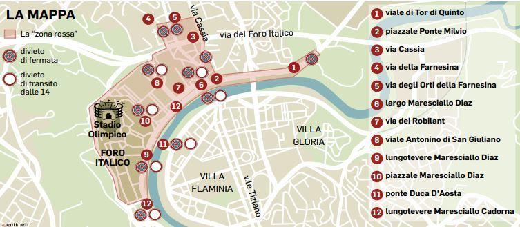 Cartina Stadio Olimpico Di Roma.Derby Lazio Roma Stadio E Vie Blindate 2mila Agenti Per I Controlli Mappa